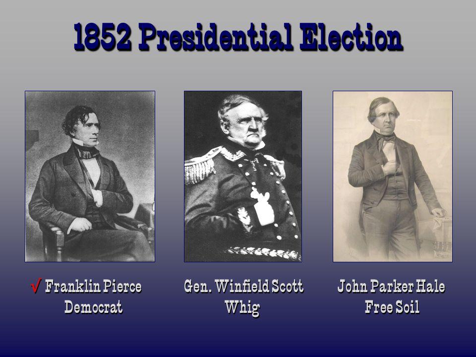 1852 Presidential Election Franklin Pierce Gen. Winfield Scott John Parker Hale Democrat Whig Free Soil