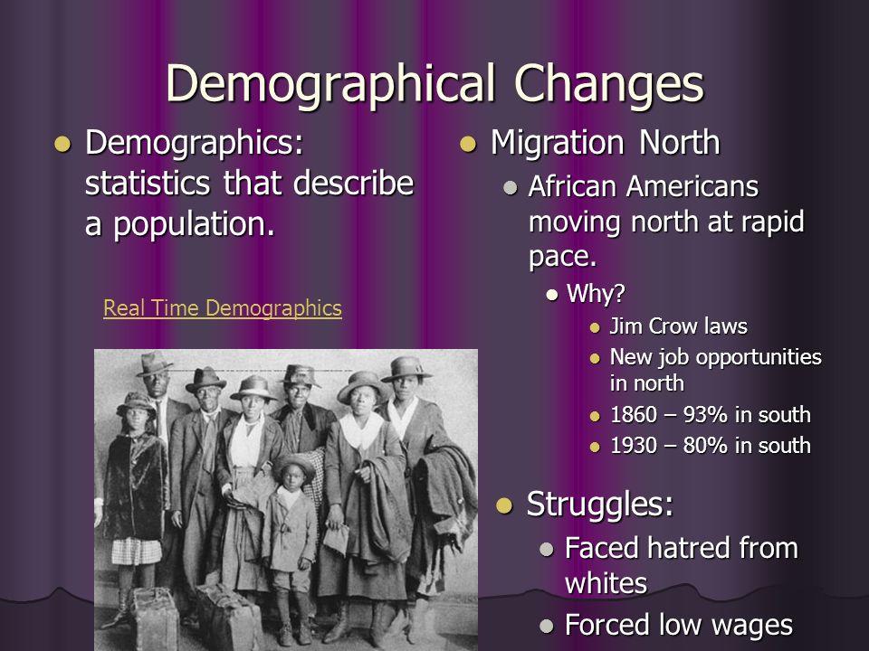 Demographical Changes Demographics: statistics that describe a population. Demographics: statistics that describe a population. Real Time Demographics