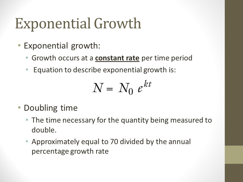 Exponential Growth Exponential growth: Growth occurs at a constant rate per time period Equation to describe exponential growth is: Doubling time The time necessary for the quantity being measured to double.