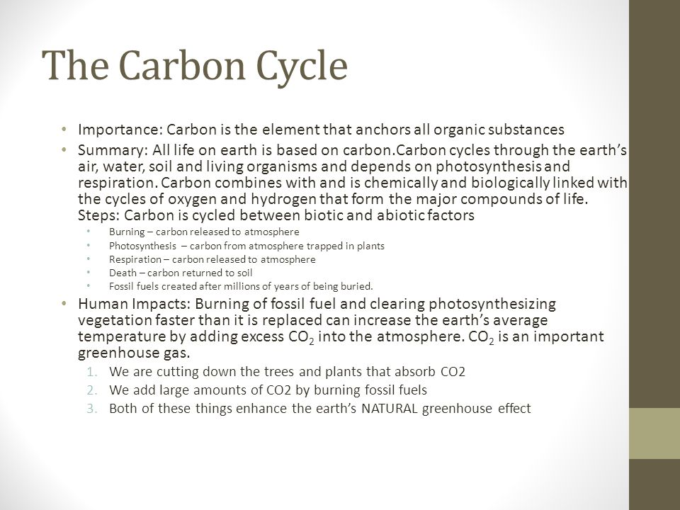 The Carbon Cycle Importance: Carbon is the element that anchors all organic substances Summary: All life on earth is based on carbon.Carbon cycles through the earths air, water, soil and living organisms and depends on photosynthesis and respiration.
