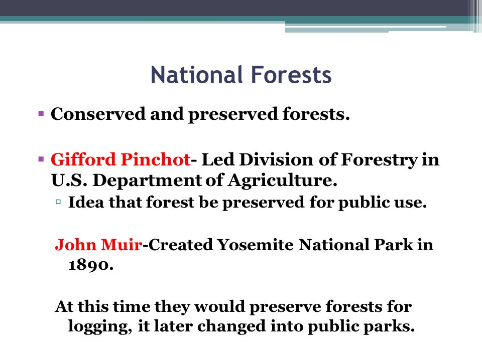 National Forests Conserved and preserved forests. Gifford Pinchot- Led Division of Forestry in U.S. Department of Agriculture. Idea that forest be pre