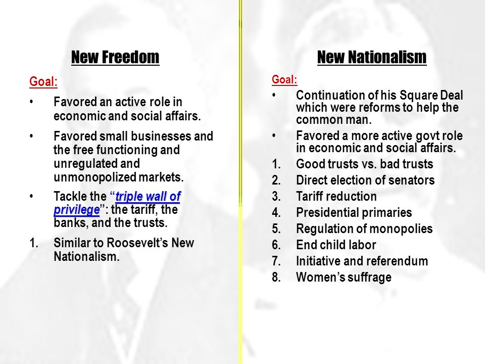 New Freedom Goal: Favored an active role in economic and social affairs.
