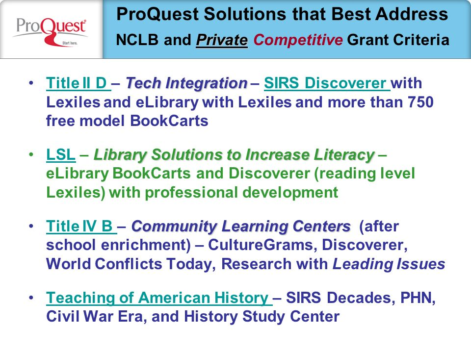 Tech IntegrationTitle II D – Tech Integration – SIRS Discoverer with Lexiles and eLibrary with Lexiles and more than 750 free model BookCartsTitle II