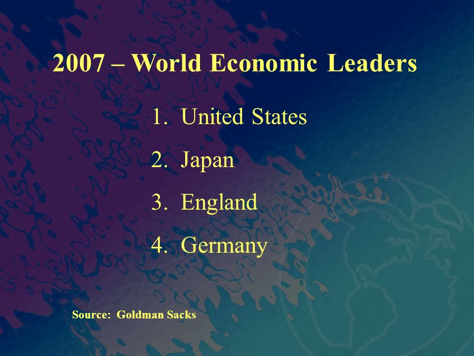 2007 – World Economic Leaders 1. United States 2. Japan 3. England 4. Germany Source: Goldman Sacks