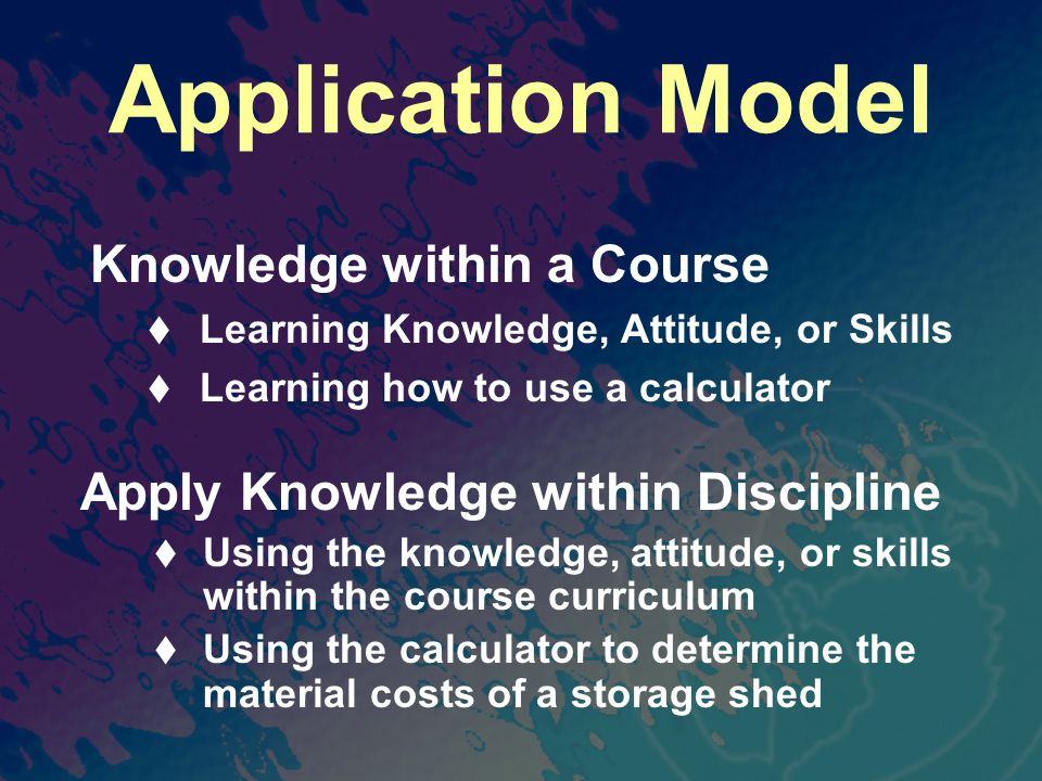Application Model Knowledge within a Course Learning Knowledge, Attitude, or Skills Learning how to use a calculator Apply Knowledge within Discipline