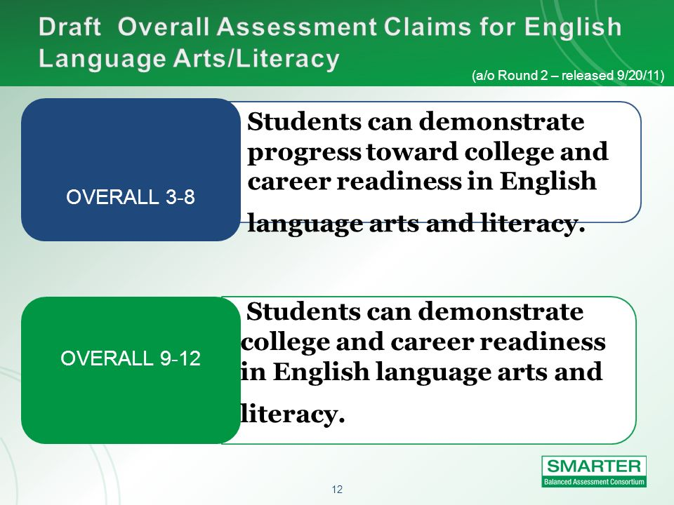 12 OVERALL 3-8 OVERALL 9-12 (a/o Round 2 – released 9/20/11) Students can demonstrate progress toward college and career readiness in English language