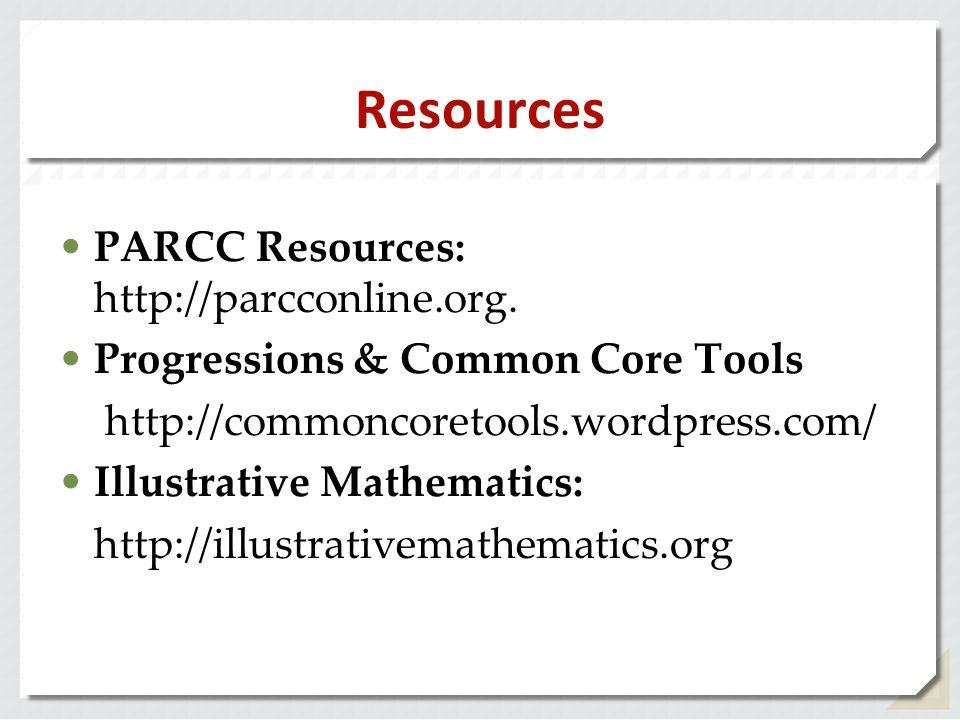 Resources PARCC Resources: http://parcconline.org.