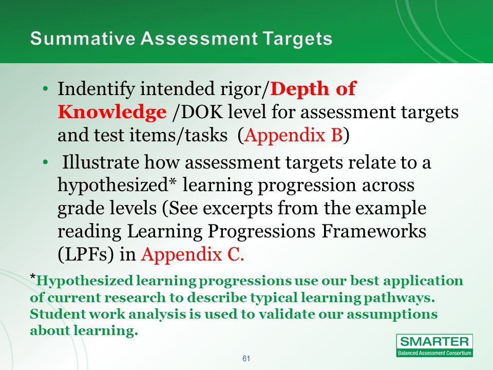 61 Indentify intended rigor/Depth of Knowledge /DOK level for assessment targets and test items/tasks (Appendix B) Illustrate how assessment targets r