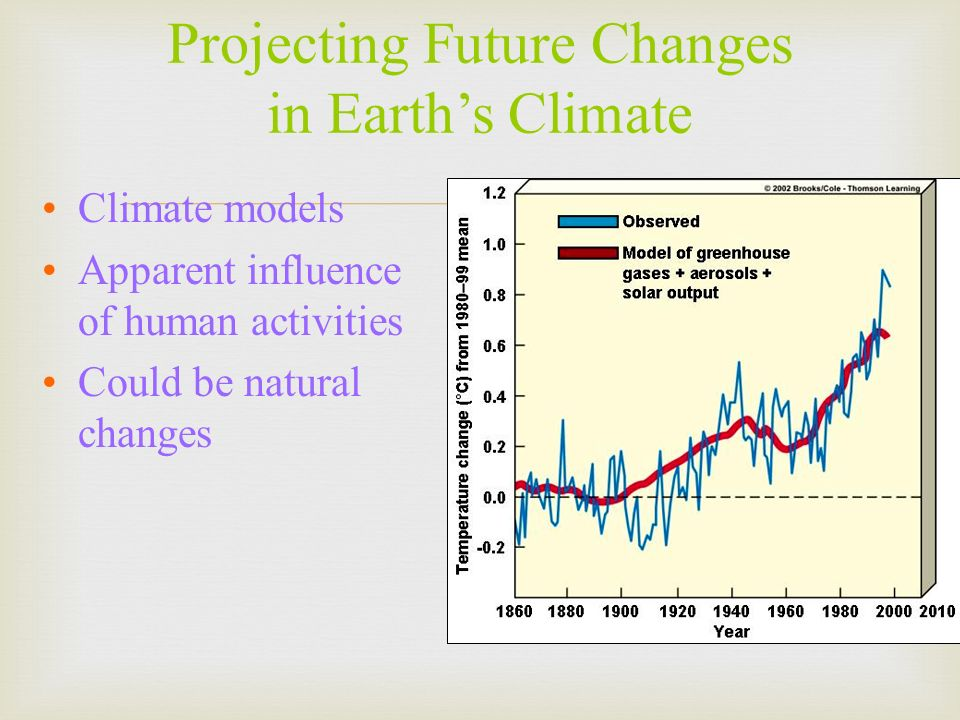 Climate models Apparent influence of human activities Could be natural changes Projecting Future Changes in Earths Climate