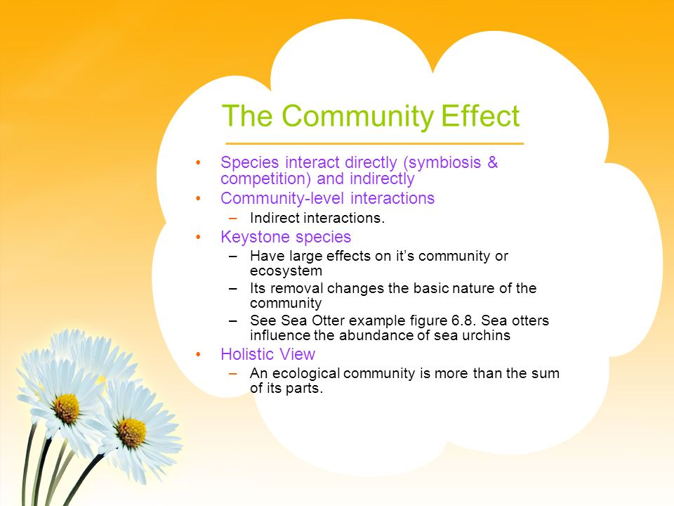 The Community Effect Species interact directly (symbiosis & competition) and indirectly Community-level interactions –Indirect interactions.