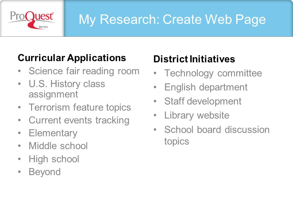 My Research: Create Web Page Curricular Applications Science fair reading room U.S. History class assignment Terrorism feature topics Current events t