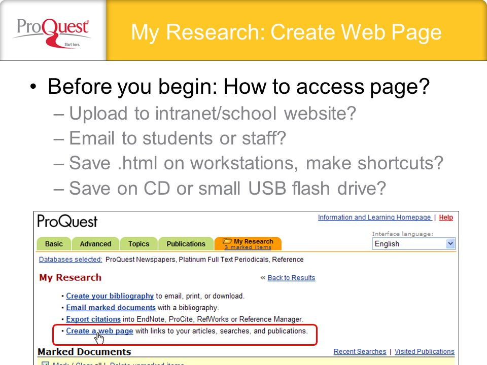 My Research: Create Web Page Before you begin: How to access page.