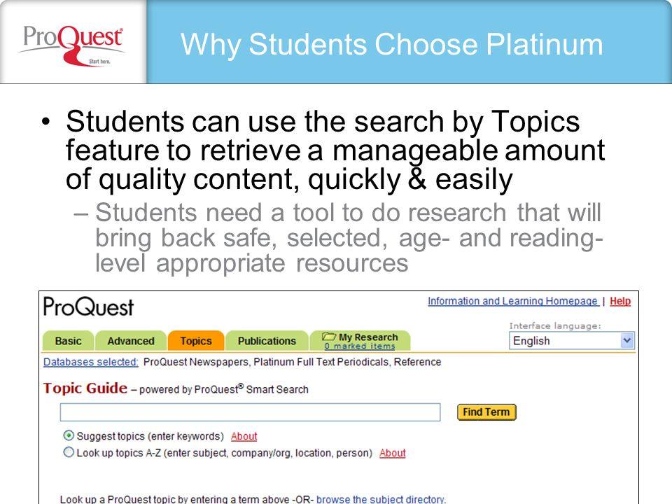 My Research: Create a Web Page Add comments Add or remove items Click Update when done Include on your page: Links to full-text articles from the best publishers Connections to specific issues of publications Integrate content from anywhere on the Internet All ProQuest content is copyright-cleared Edit your HTML (Web page) template
