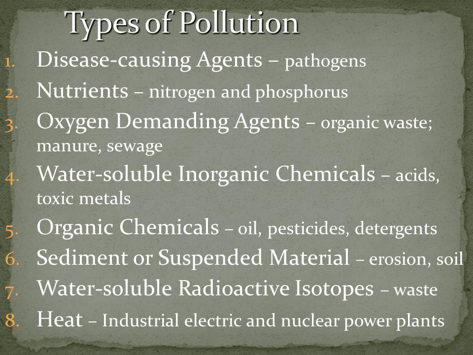 1. Disease-causing Agents – pathogens 2. Nutrients – n itrogen and phosphorus 3. Oxygen Demanding Agents – organic waste; manure, sewage 4. Water-solu