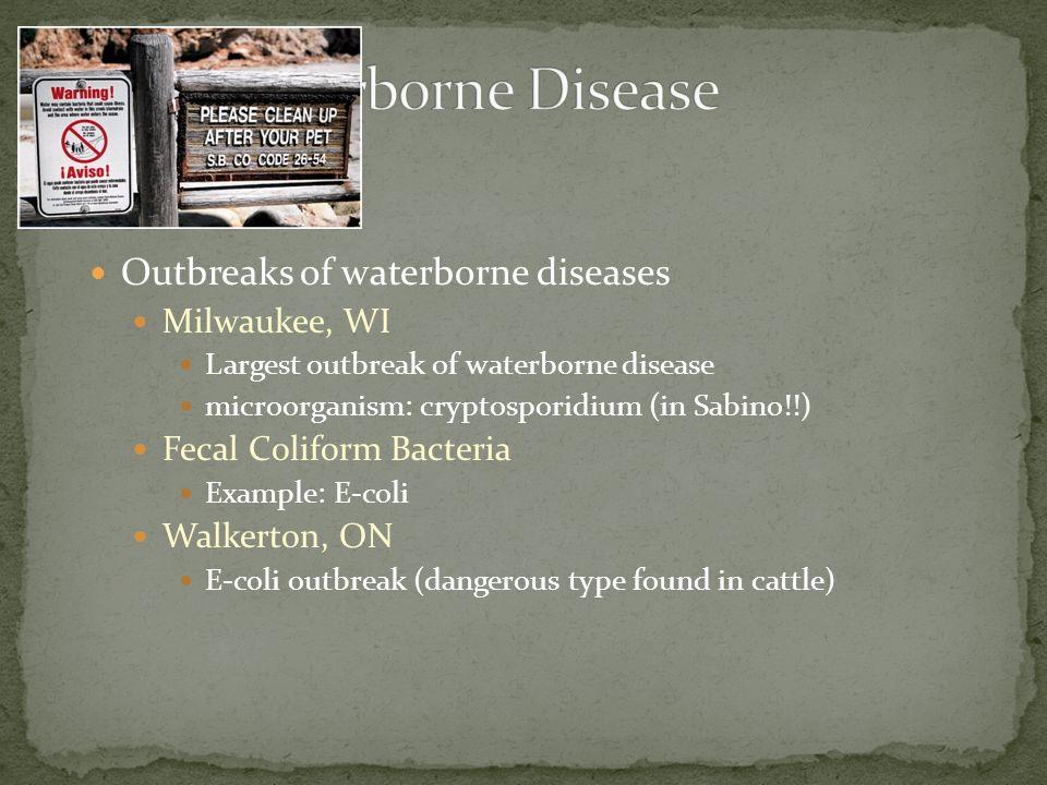 Outbreaks of waterborne diseases Milwaukee, WI Largest outbreak of waterborne disease microorganism: cryptosporidium (in Sabino!!) Fecal Coliform Bact