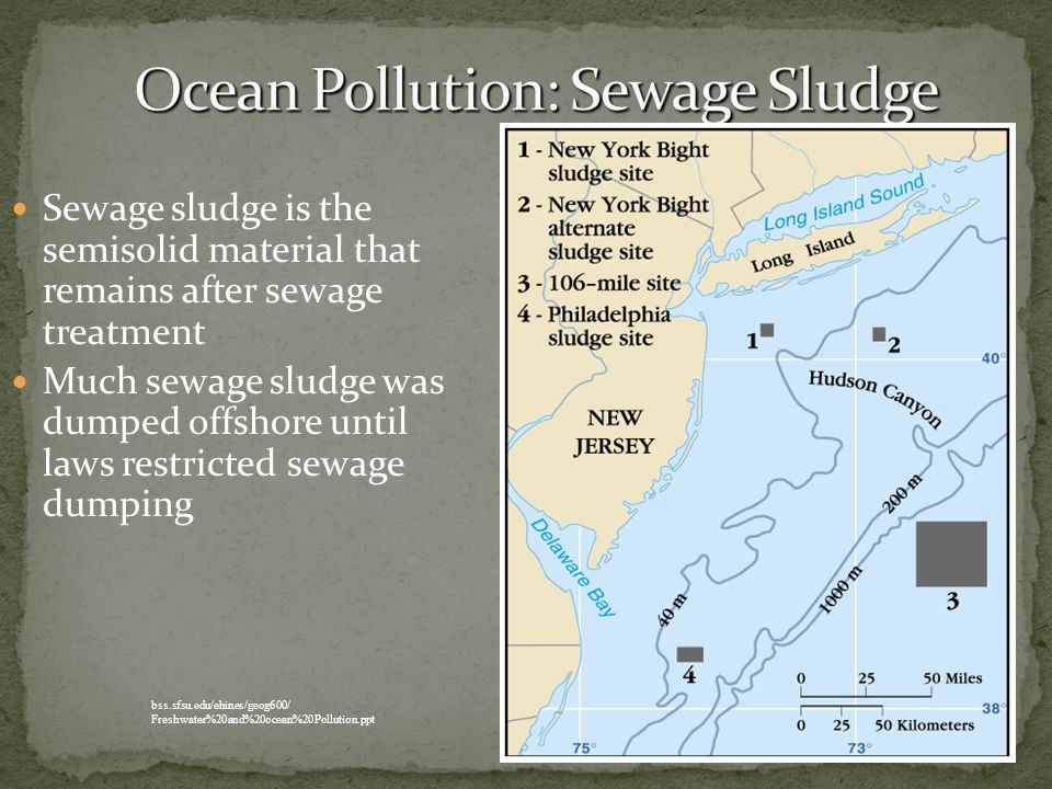 Sewage sludge is the semisolid material that remains after sewage treatment Much sewage sludge was dumped offshore until laws restricted sewage dumpin
