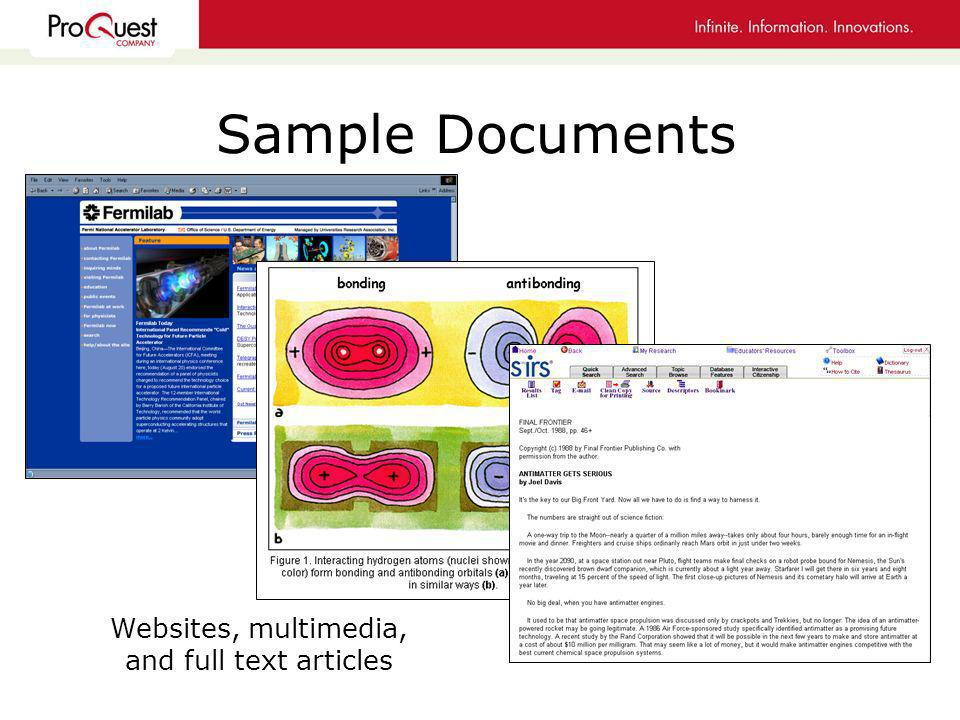 Sample Documents Websites, multimedia, and full text articles
