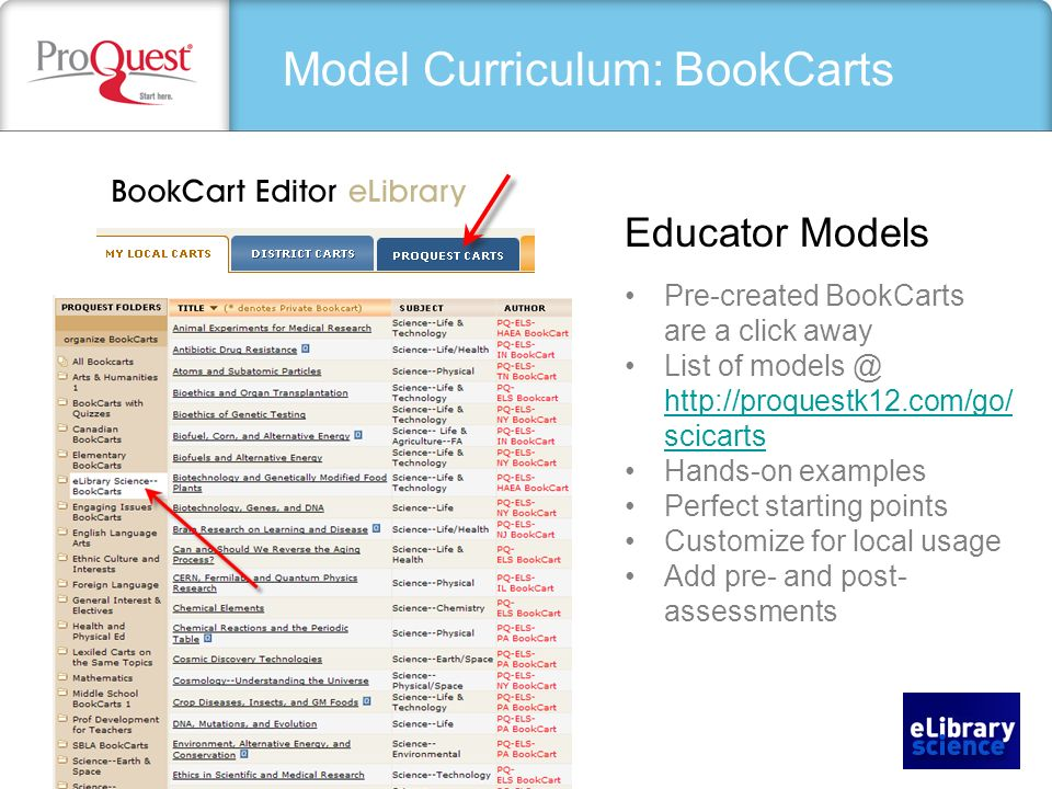 Model Curriculum: BookCarts Educator Models Pre-created BookCarts are a click away List of   scicarts   scicarts Hands-on examples Perfect starting points Customize for local usage Add pre- and post- assessments