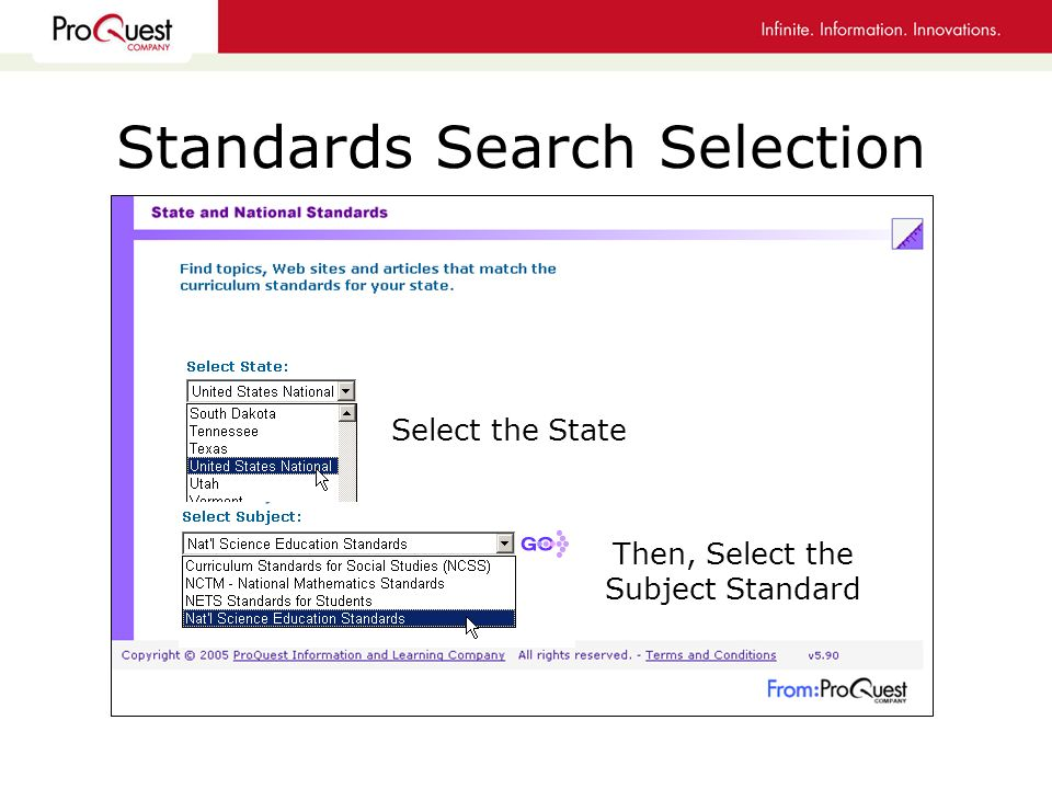 Standards Search Selection Select the State Then, Select the Subject Standard