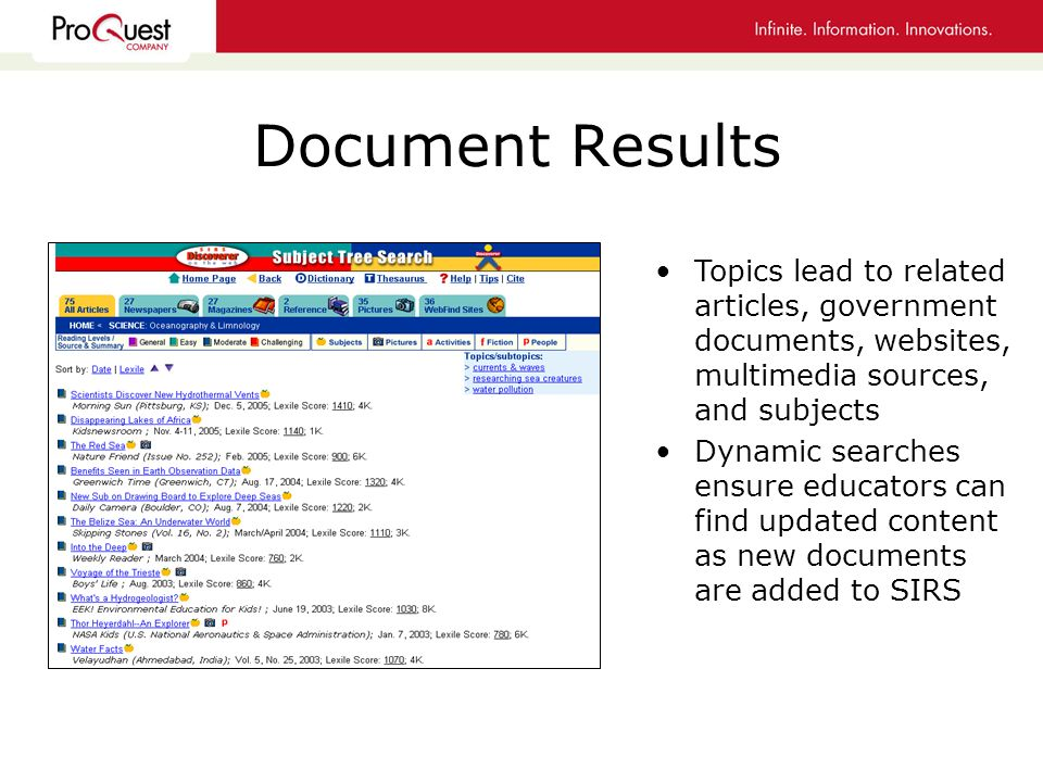 Document Results Topics lead to related articles, government documents, websites, multimedia sources, and subjects Dynamic searches ensure educators can find updated content as new documents are added to SIRS