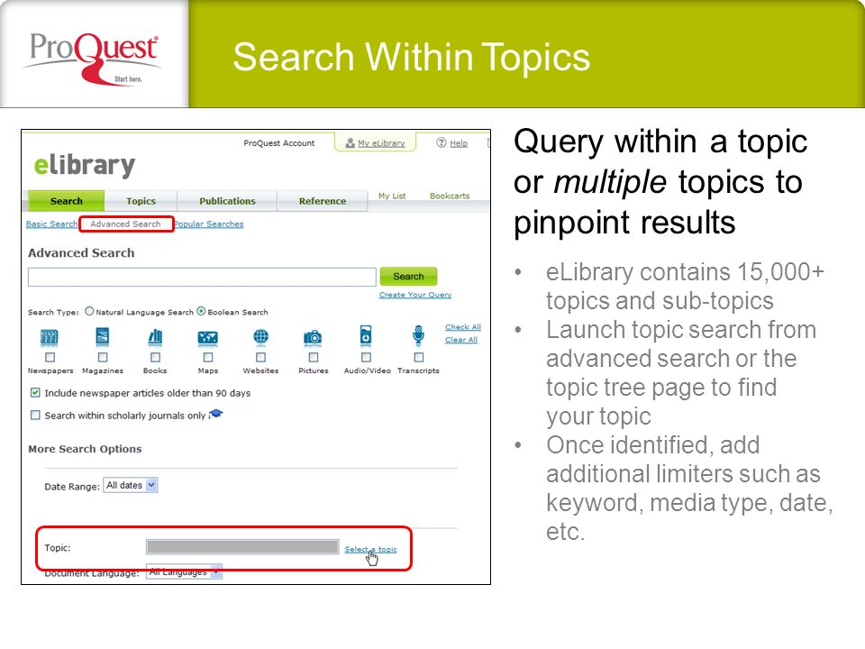 Search Within Topics eLibrary contains 15,000+ topics and sub-topics Launch topic search from advanced search or the topic tree page to find your topic Once identified, add additional limiters such as keyword, media type, date, etc.