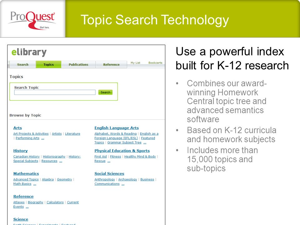 Topic Search Technology Combines our award- winning Homework Central topic tree and advanced semantics software Based on K-12 curricula and homework subjects Includes more than 15,000 topics and sub-topics Use a powerful index built for K-12 research