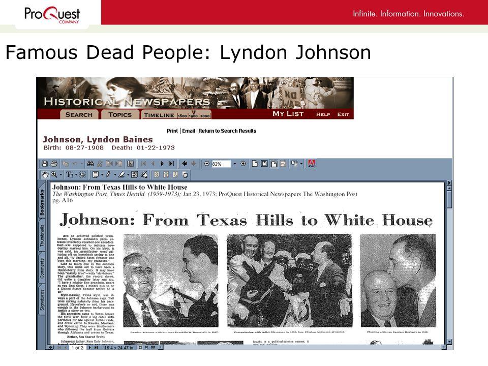 Famous Dead People: Lyndon Johnson
