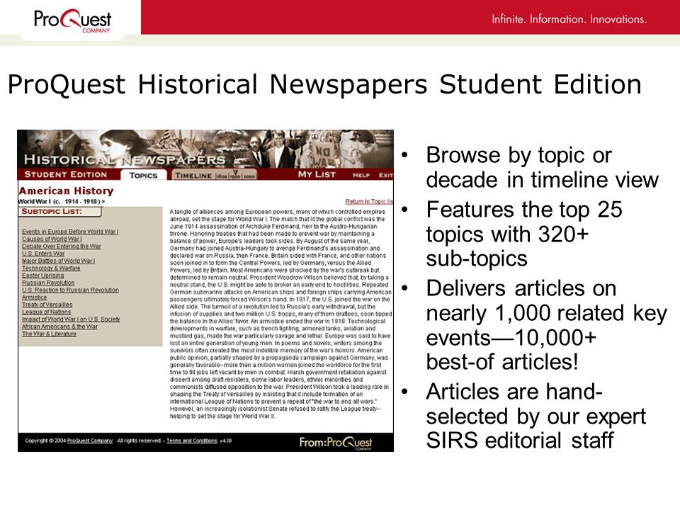 Browse by topic or decade in timeline view Features the top 25 topics with 320+ sub-topics Delivers articles on nearly 1,000 related key events10,000+ best-of articles.