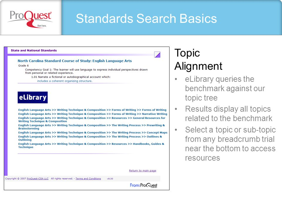 Standards Search Basics eLibrary queries the benchmark against our topic tree Results display all topics related to the benchmark Select a topic or su