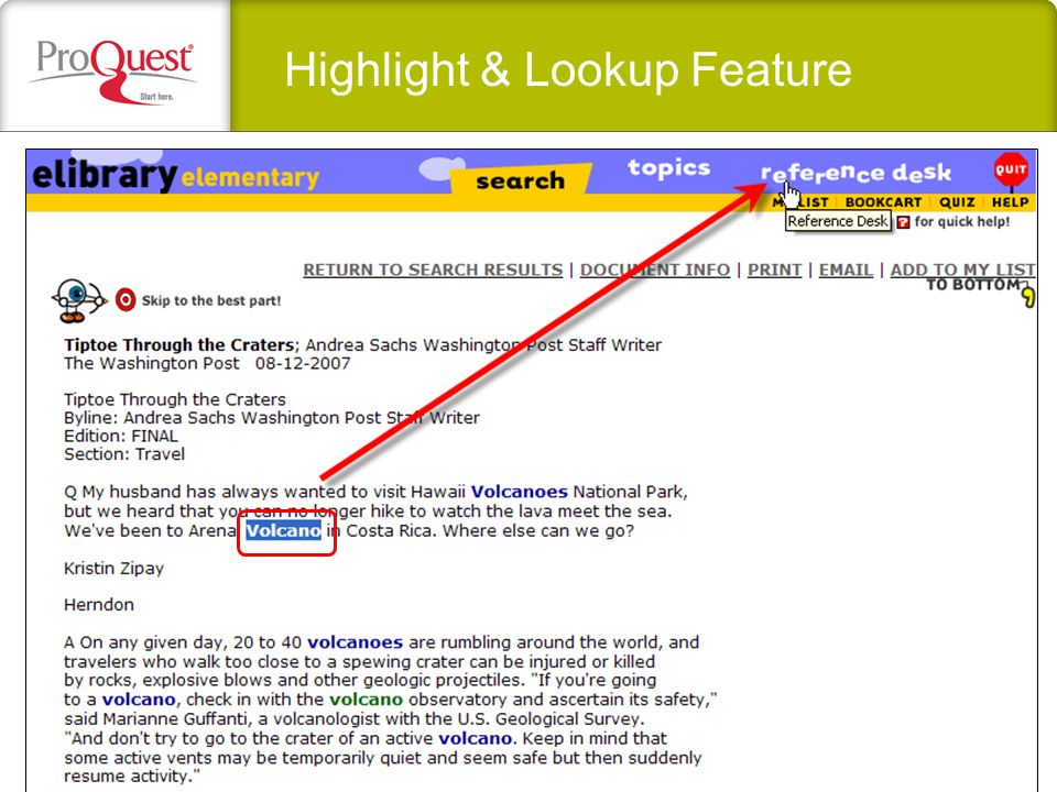 Highlight & Lookup Feature