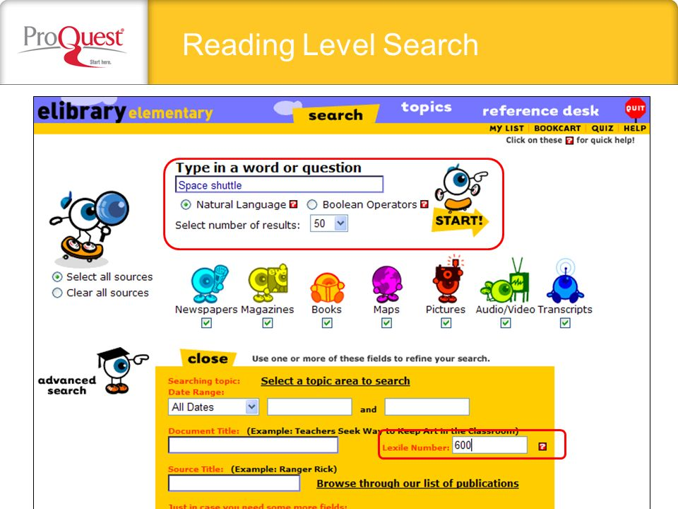Reading Level Search