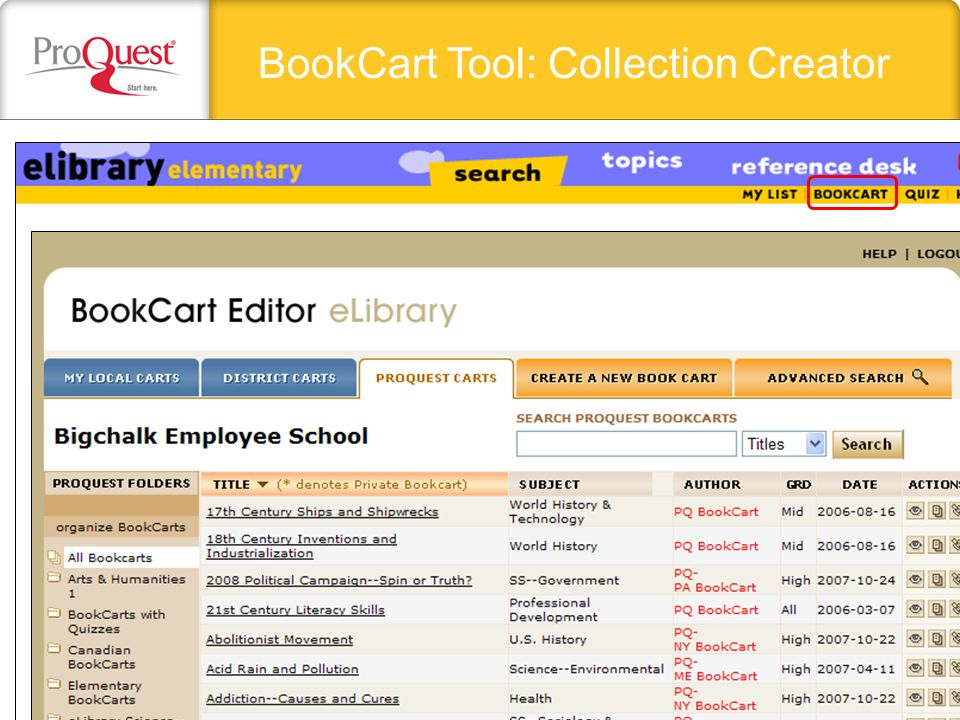 BookCart Tool: Collection Creator