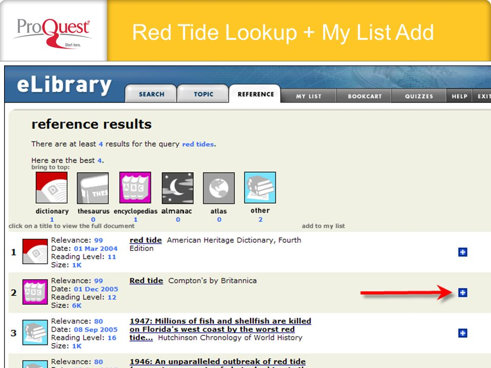 Red Tide Lookup + My List Add