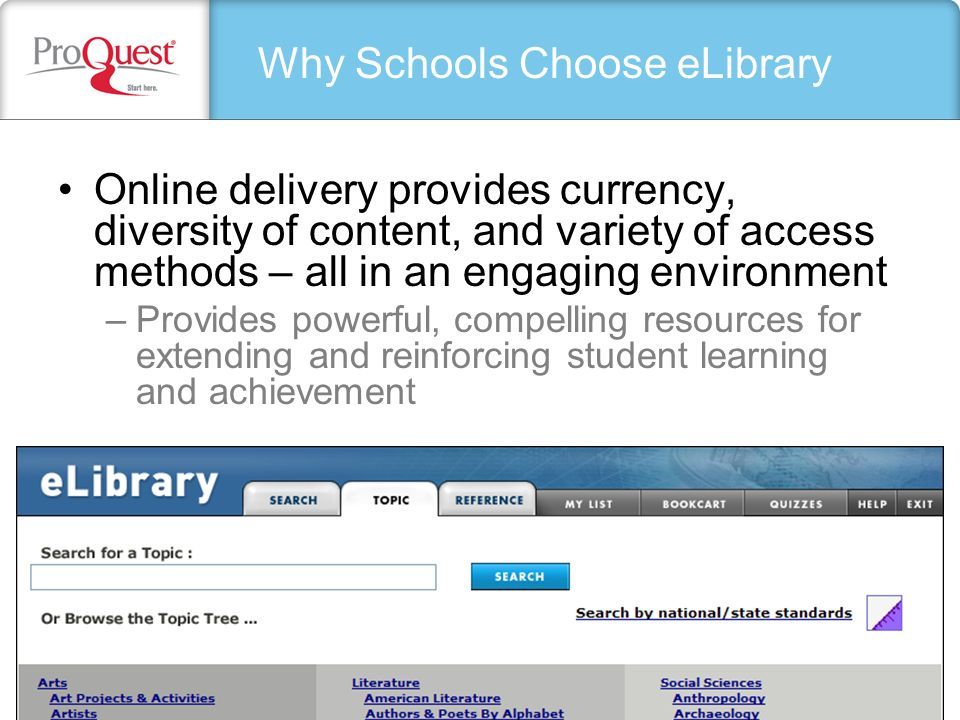 Online delivery provides currency, diversity of content, and variety of access methods – all in an engaging environment –Provides powerful, compelling resources for extending and reinforcing student learning and achievement Why Schools Choose eLibrary