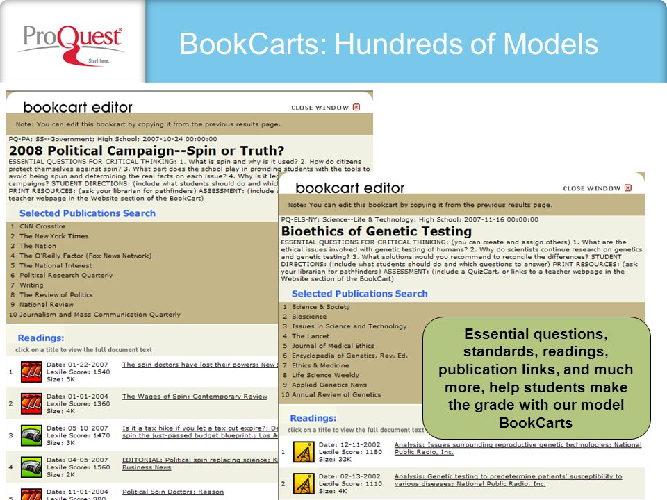 BookCarts: Hundreds of Models Essential questions, standards, readings, publication links, and much more, help students make the grade with our model BookCarts