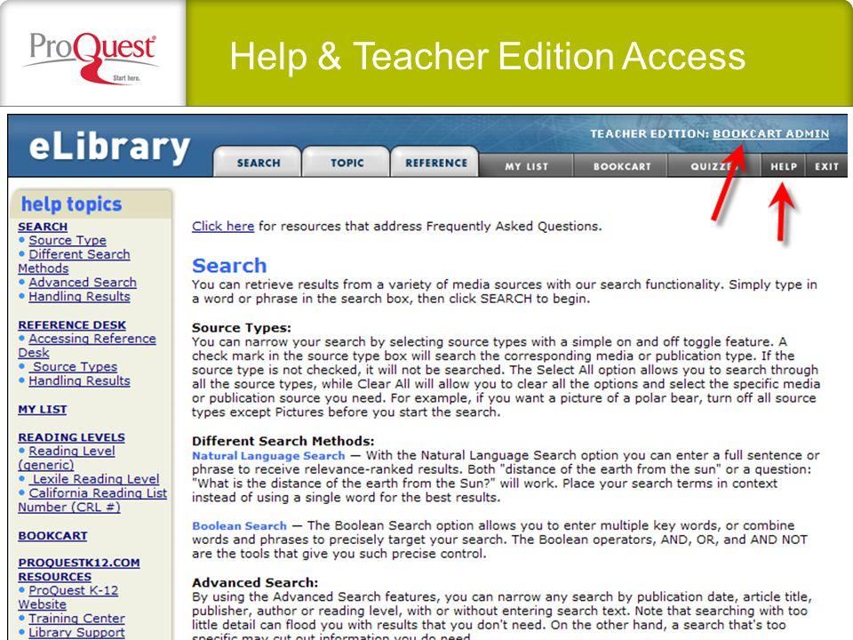 Help & Teacher Edition Access