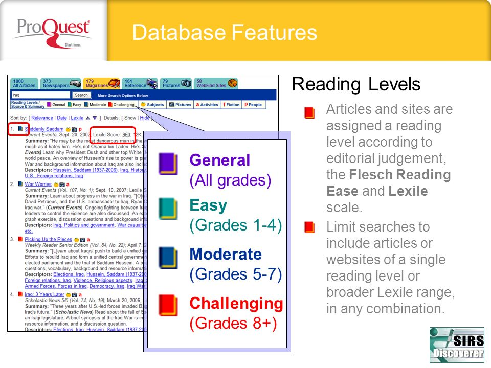 Database Features Reading Levels Articles and sites are assigned a reading level according to editorial judgement, the Flesch Reading Ease and Lexile