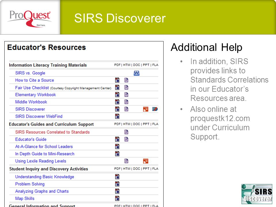 SIRS Discoverer Additional Help In addition, SIRS provides links to Standards Correlations in our Educators Resources area. Also online at proquestk12