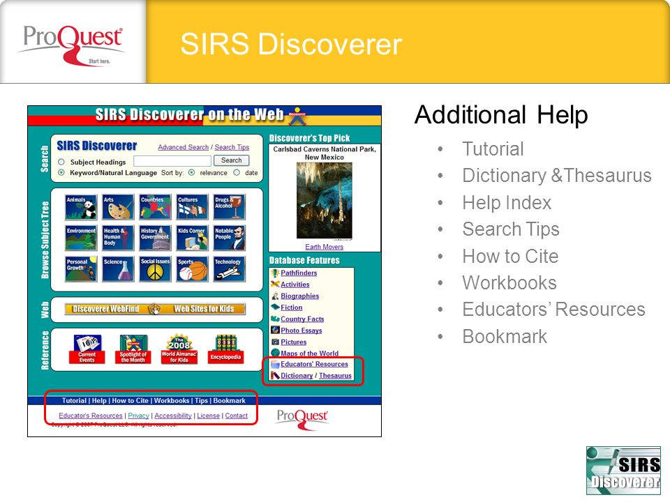 SIRS Discoverer Additional Help Tutorial Dictionary &Thesaurus Help Index Search Tips How to Cite Workbooks Educators Resources Bookmark