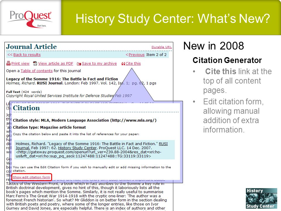 History Study Center: Whats New. Citation Generator Cite this link at the top of all content pages.