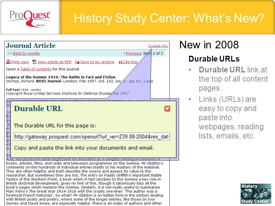 History Study Center: Whats New. Durable URLs Durable URL link at the top of all content pages.