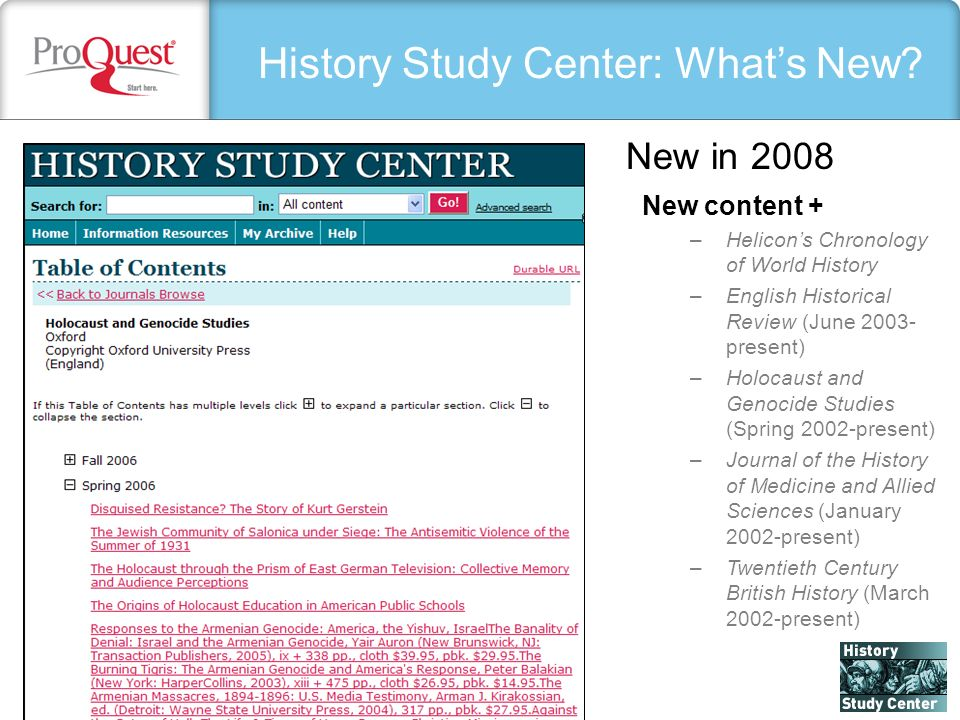 History Study Center: Whats New.
