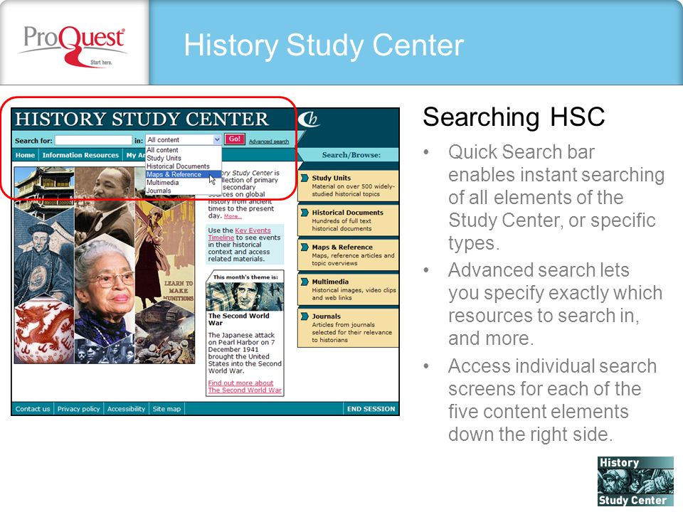 History Study Center Quick Search bar enables instant searching of all elements of the Study Center, or specific types.