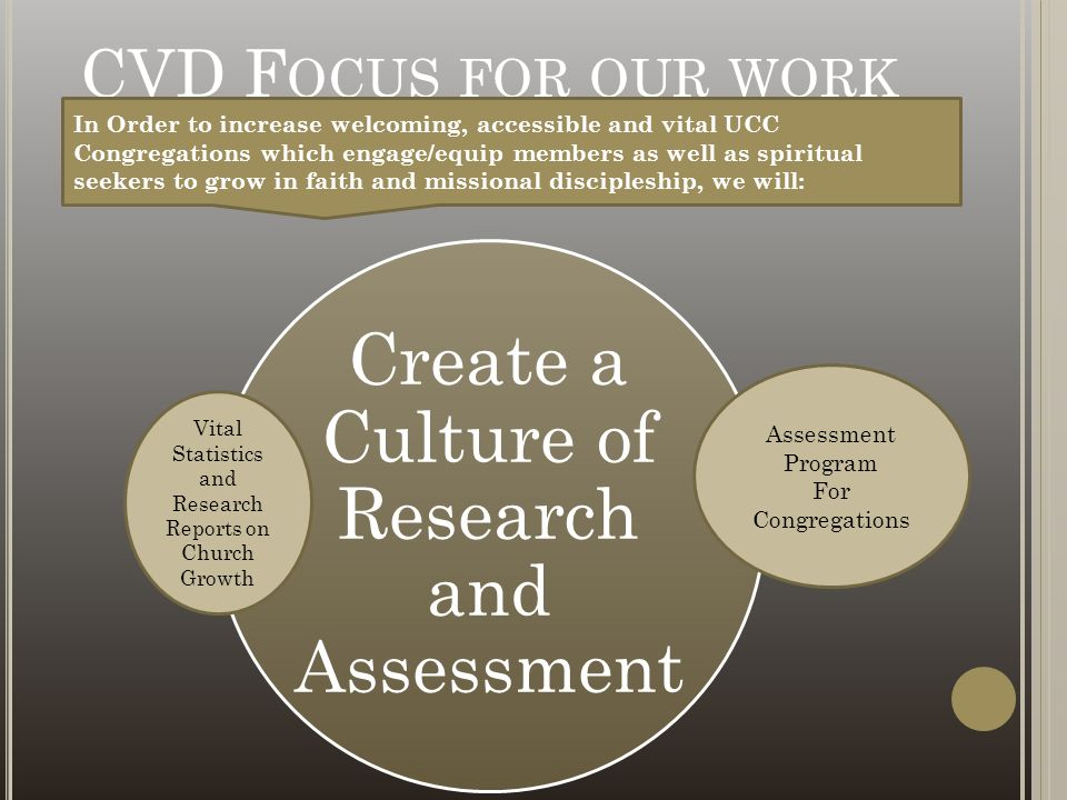 CVD F OCUS FOR OUR WORK Create a Culture of Research and Assessment In Order to increase welcoming, accessible and vital UCC Congregations which engag
