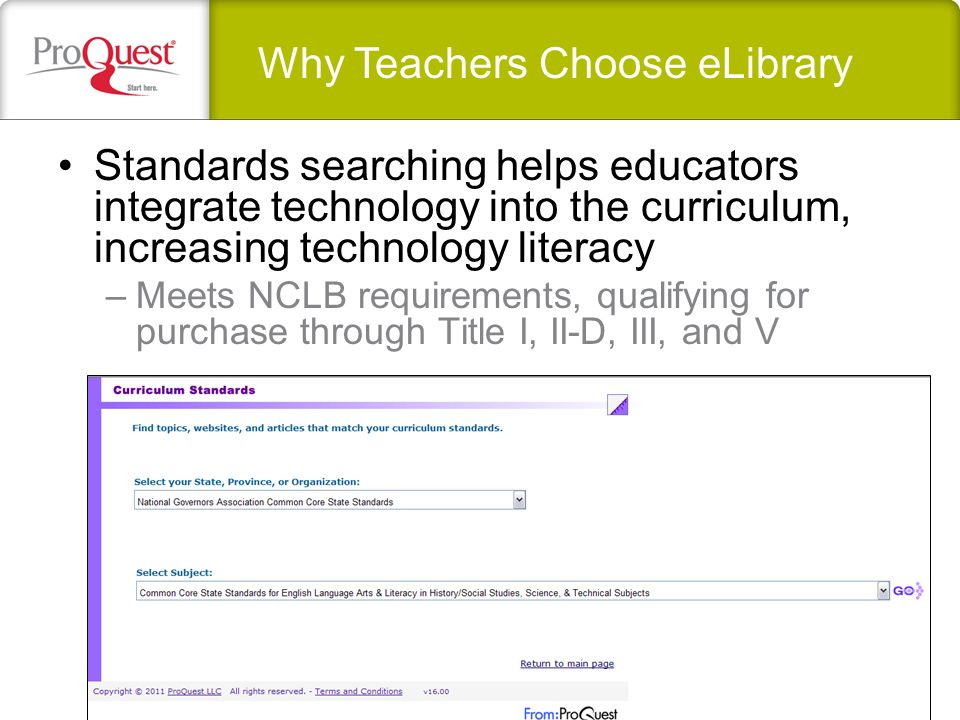 Standards searching helps educators integrate technology into the curriculum, increasing technology literacy –Meets NCLB requirements, qualifying for purchase through Title I, II-D, III, and V Why Teachers Choose eLibrary