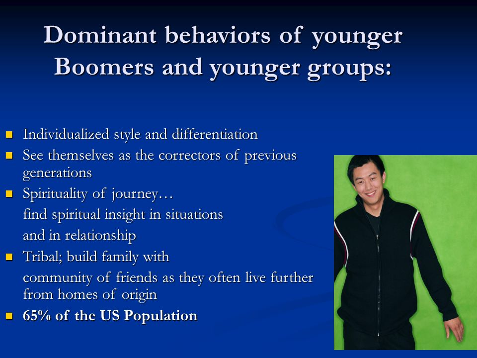 Dominant behaviors of younger Boomers and younger groups: Individualized style and differentiation Individualized style and differentiation See themselves as the correctors of previous generations See themselves as the correctors of previous generations Spirituality of journey… Spirituality of journey… find spiritual insight in situations and in relationship Tribal; build family with Tribal; build family with community of friends as they often live further from homes of origin 65% of the US Population 65% of the US Population