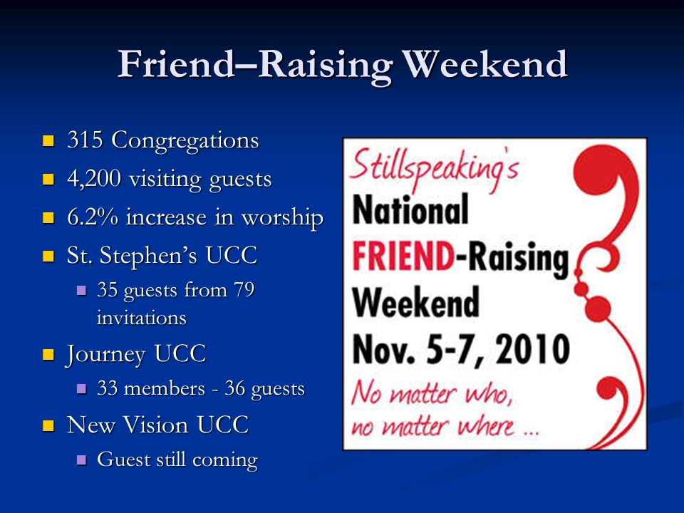 Friend–Raising Weekend 315 Congregations 315 Congregations 4,200 visiting guests 4,200 visiting guests 6.2% increase in worship 6.2% increase in worship St.