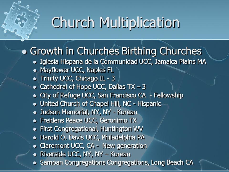 Church Multiplication Growth in Churches Birthing Churches Iglesia Hispana de la Communidad UCC, Jamaica Plains MA Mayflower UCC, Naples FL Trinity UC