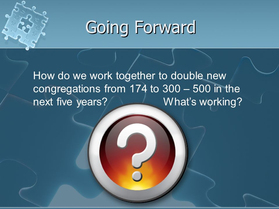 Going Forward How do we work together to double new congregations from 174 to 300 – 500 in the next five years.
