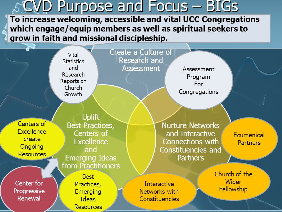 CVD Purpose and Focus – BIGs Picture Create a Culture of Research and Assessment Nurture Networks and Interactive Connections with Constituencies and